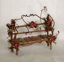 Fairy House Miniature Doll TWIG Furniture GARDEN BENCH Artisan Crafted Hand Made - Gardening Rustic