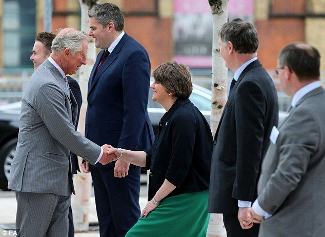 Earlier, the prince held separate meetings with Stormont First Minister Arlene Foster (pic...