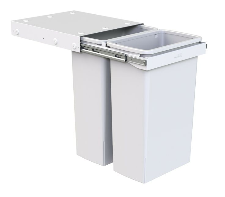 Hideaway Compact model: KC240H. 2 x 40L bucket, handle pull. Largest available double bin solution - 80 litres total capacity! Features a patented air vent system to maximise bag volume.