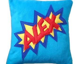 Personalized super hero cushion cover, comic style pillow cover