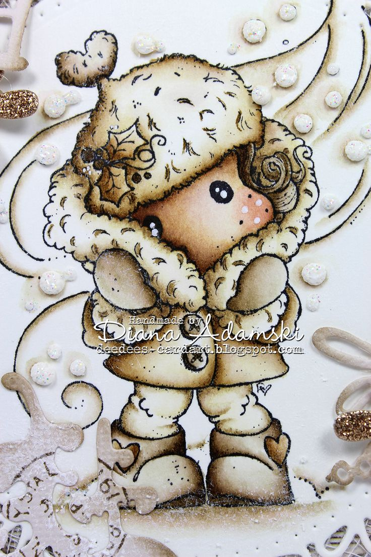 """DeeDee's Magnolia Art: ♥ It's Cold Outside Tilda ♥ Hello, I thank you so much for visiting my blog! ♥ I made this card for the Live & Crafts Blog. The theme was snowflakes. And so I have craft this card. The color sheme is brown and cold. I hope you like it. The image is from the Waiting for Christmas Collection of Magnolia and is called """"It's Cold Outsinde Tilda"""". The papers are from Maja Design from the """"A Gift For You"""" and the Vintage Summer Basic """"Collection."""