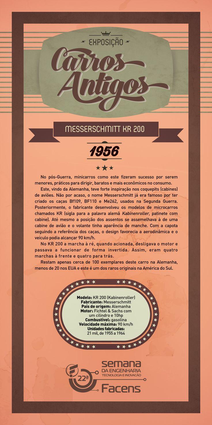 Banner 90x180 Exposição de Carros Antigos - Messerschmitt.   Desenvolvido pela Atua Agência para a Faculdade de Engenharia de Sorocaba Facens.