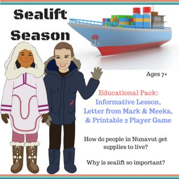 Instant Download Sealift Season Education Pack with Printable Game! Package theme: Sealift Season For ages 7+ Are your children or students learning about life in the Arctic? Have they ever wondered how people living in the north get what they need to survive?