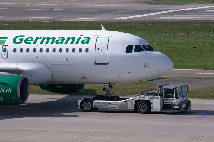 #a319 #airbus #airbus a319 #aircraft #airport #airport zurich #germania #goldhofer #jet #passenger aircraft #prior to #runway #towing vehicle #tractor #travel #tug #zurich