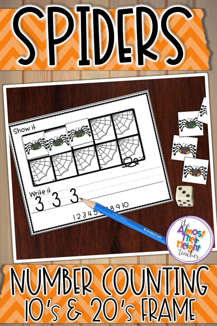 Filling a spider web tens frame or twenties frame with spiders sounds like a perfect way to practice counting and writing numbers 1-20. Provide your students with a dry erase marker, the 10's frame, a 10 or 20 sided dice (or the provide spinner) and spider counters (or erasers if you have them) and you are set for a great activity of reading numbers, counting out and writing. A great activity for your spider or Halloween needs