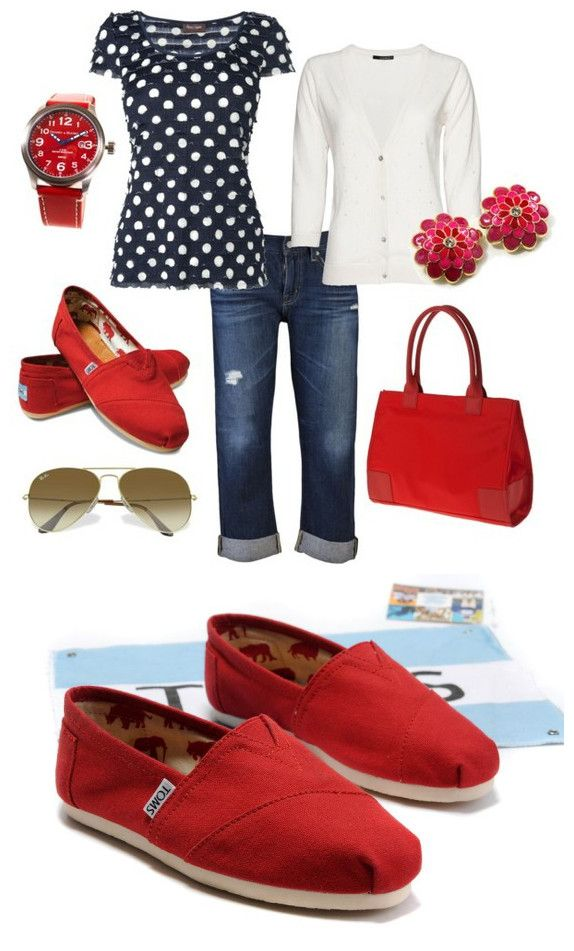 With slacks and different red shoes, this would be great for work.