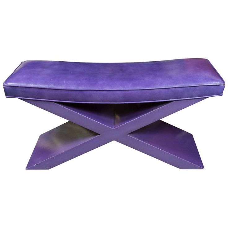 Modernist Purple Leather Bench | From a unique collection of antique and modern benches at https://www.1stdibs.com/furniture/seating/benches/