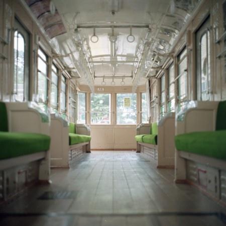 inside of a Setagaya Tokyo lightrail train car