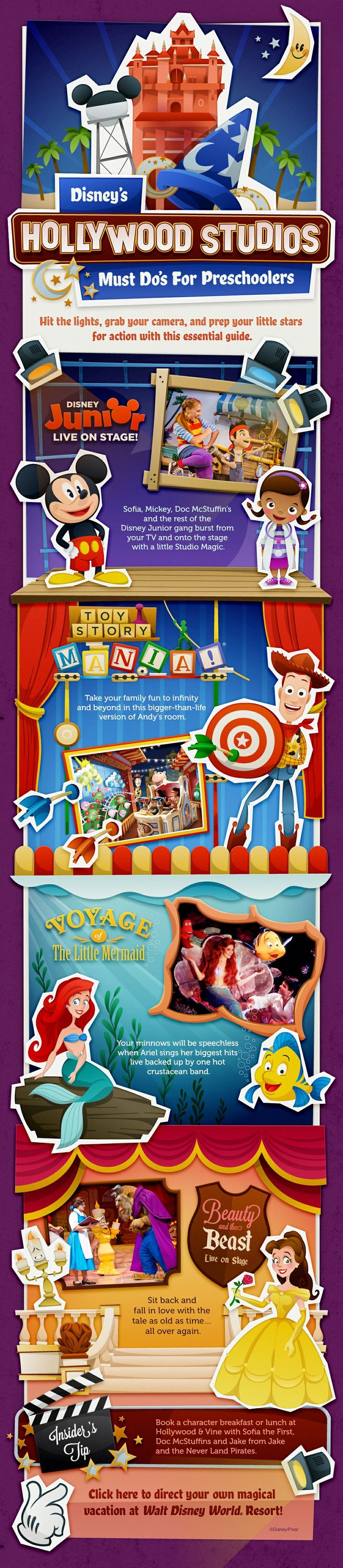 Disney's Hollywood Studios Must Do's for Preschoolers (or select another age group)! Disney Junior, Mickey Mouse Club, Doc McStuffins, Sofia the First, Toy Story Mania, Voyage of the Little Mermaid, Beauty and the Beast Live on Stage!    Disney Vacation   Disney Vacation Tips   Disney Planning Tips   Disney World Planning   Disney World with Kids  