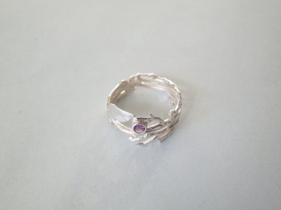 Sterling Silver twig ring with tiny by Artistic925Jewellery, $45.00