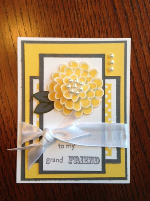 My take on the yellow and grey Mother's Day card  for my gramma  Stampin up