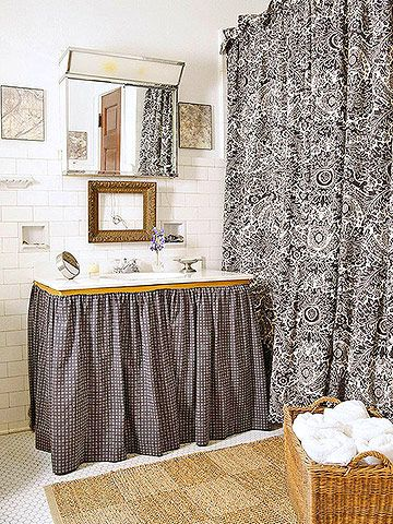 Add interest without vivid color with a richly patterned flea-market fabric:  http://www.bhg.com/decorating/storage/projects/flea-market-storage-ideas/?socsrc=bhgpin101714vintagefabric&page=7
