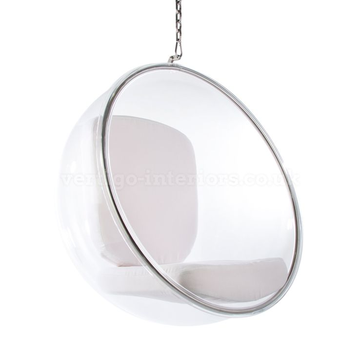 hanging bubble chair with white cushion inspired by designs of eero aarnio