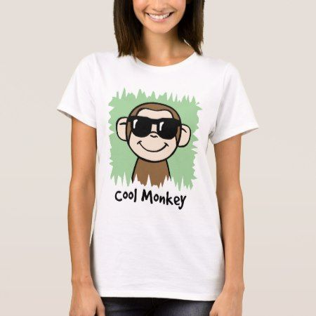 Cartoon Clip Art Cool Monkey with Sunglasses T-Shirt - tap, personalize, buy right now!
