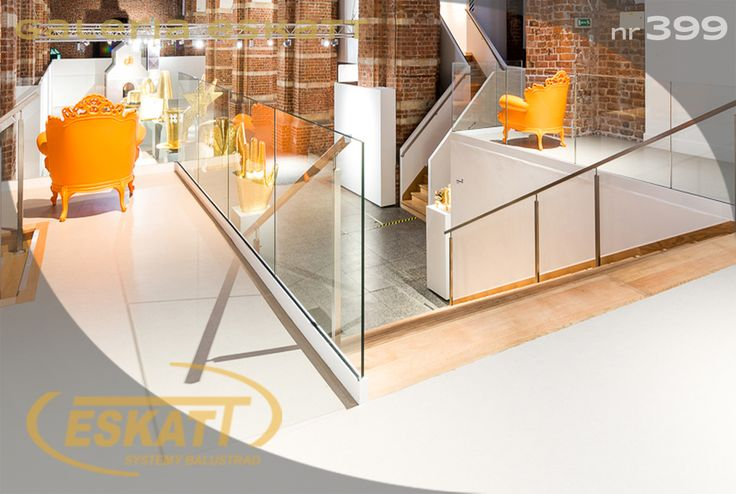 Safety glass balustrade and stainless steel railing #balustrade #eskatt #construction #stairs