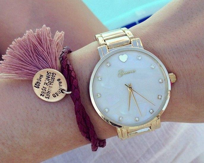 Zegarek blogerek GENEVA HEART Złoto różowy