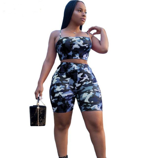 2019 Camouflage Print Two Piece Set Crop Top and Shorts Casual Wear