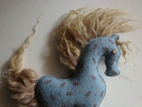 horse wool blue eco kids gift natural wool by sudakworkshop, €55.00