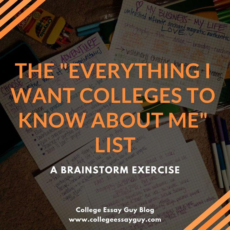 College admission essay brainstorming