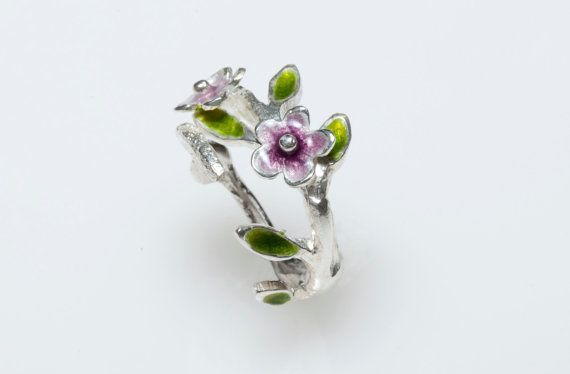 Sterling Silver Ring Enamel Ring Floral Ring  Branch by Giampouras #silver #jewelry #flowers #botanicaljewelry