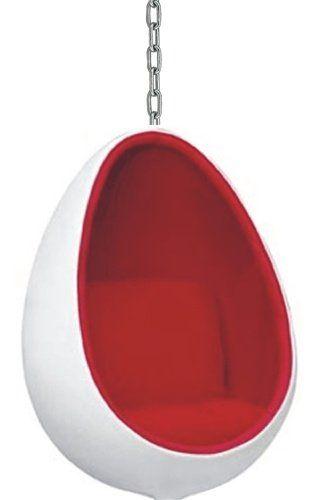 $849.00 | Futuristic Furniture. Designer Modern Hanging Egg Shape Chair in – Red. Futuristic Interior, Future Home, Modern Furniture, Red Room, White Furniture | FuturisticSHOP.com