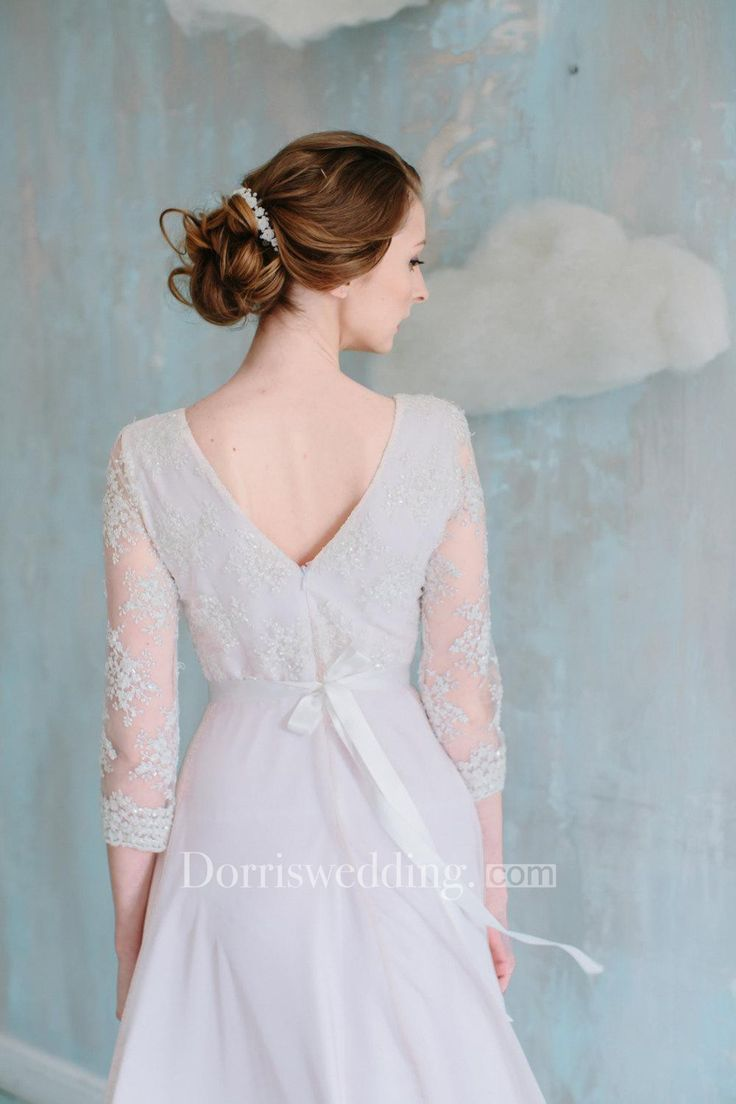 Three Quarter Illusion Sleeve Jewel Neck A-Line Chiffon Dress With Satin Sash