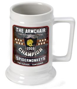 Great Unique Personalized Gift Ideas. Personalized Fantasy Football Champion Beer Stein http://www.greatuniquegiftideas.com/product/personalized-fantasy-football-champion-beer-stein/
