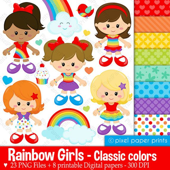 Rainbow girls  Classic colors  Clipart and by pixelpaperprints, $6.75