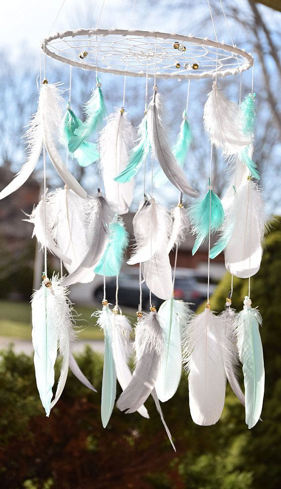Woodland Nursery Mobile Dream Catcher Feather Mobile Native American Baby Mobile