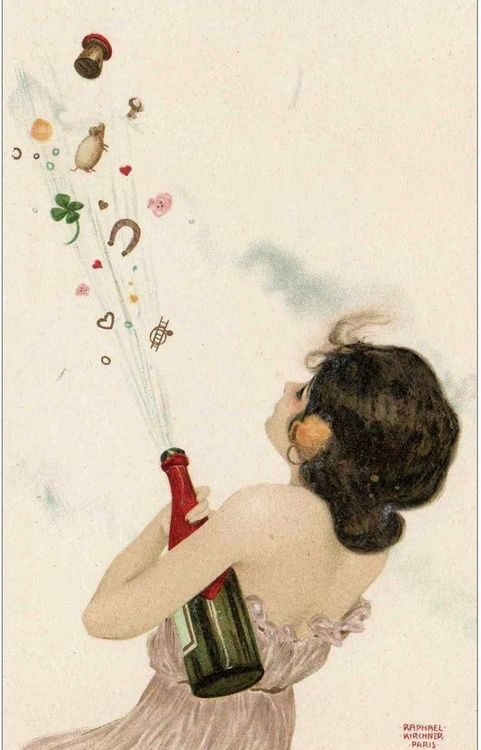 champagne celebration! illustration by Rapahel Kirchner