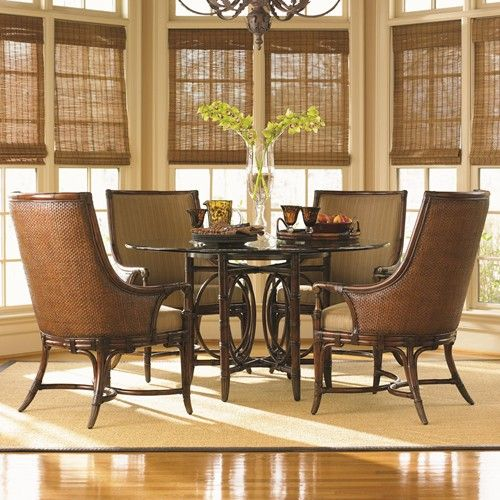 Tommy Bahama Home Landara Coral Sea Rattan Dining Table And Royal Palm Armchair Set