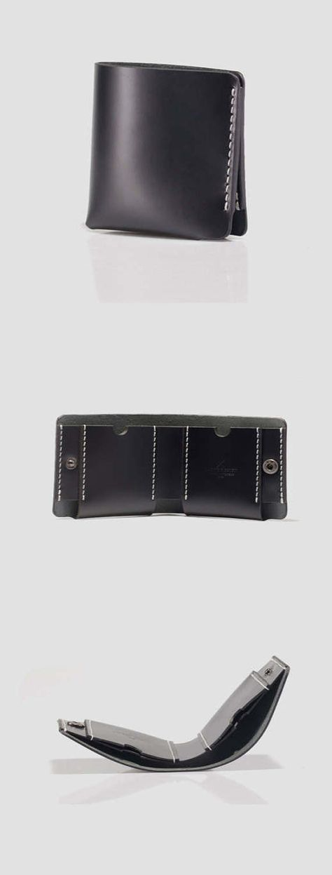 Mens Black Leather Wallet Leather Wallet Handmade Mens