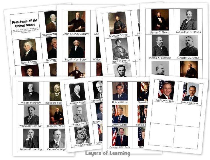 "Here are some ""Memorize the Presidents Printable Cards"", with names and pictures. Click here, Presidents of the US Memory Cards, or on the image to open the pdf to print."