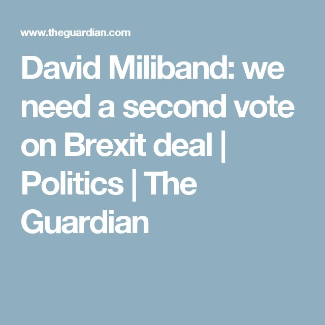 David Miliband: we need a second vote on Brexit deal   Politics   The Guardian