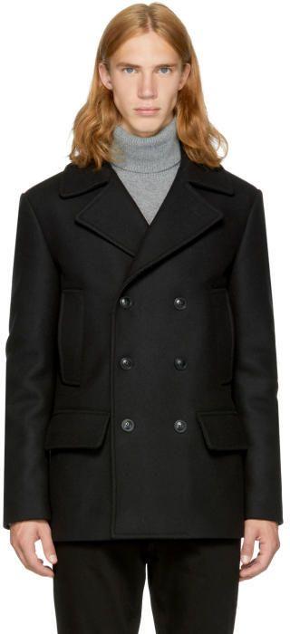 Versace Black Wool Double-Breasted Peacoat