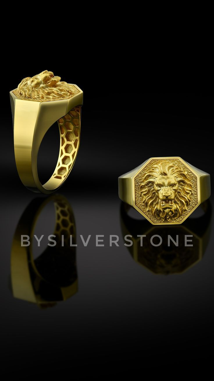 10k Solid Gold Lion Mens Ring Signet Lion Rings 18k Gold Etsy In 2020 Mens Gold Jewelry Rings For Men Handmade Gold Ring