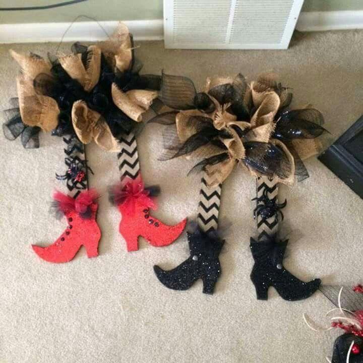 Halloween Witch Legs Wreath