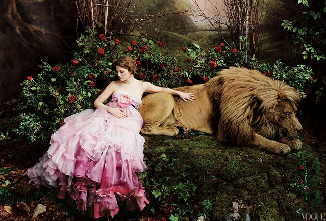 """Beauty and the Beast"" with Drew Barrymore in Christian Lacroix Haute Couture. Photographed by Annie Leibovitz for Vogue, April 2005."