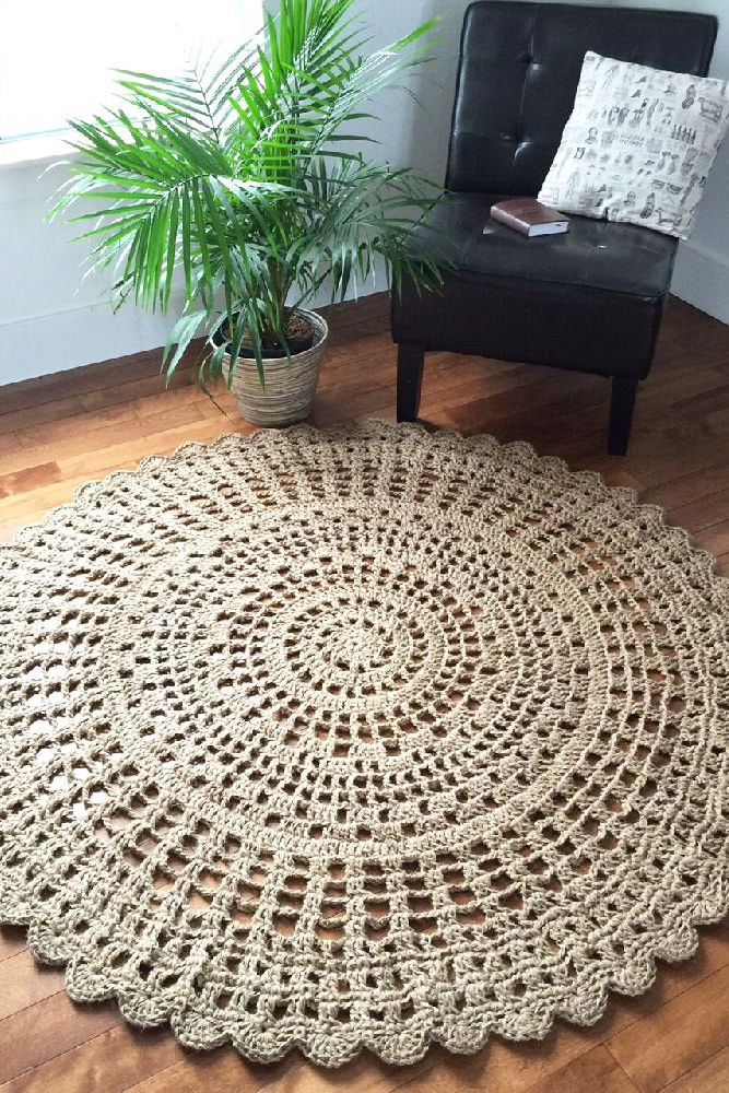 Giant Crochet Doily Rug Made With Jute Twine Add This Area Rug To A High Traffic Area For Durability Bohohomedecor Juterug Crochet Doily Rug Doily Rug Rugs