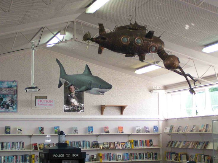 Part of a Jules Verne themed ceiling. Submarine made from copper and glass. Artist Campbell Maud. http://www.campbellmaud.co.nz