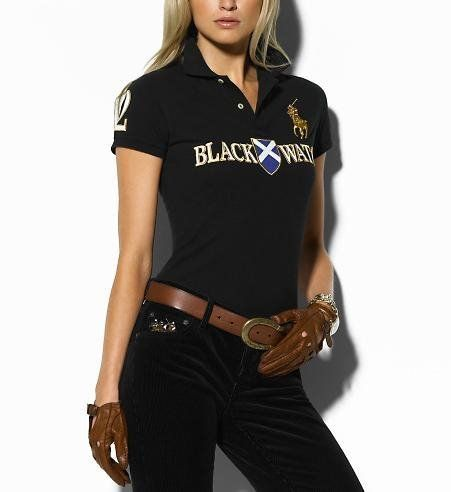 Polo Ralph Lauren Women s Black Watch Polo Black, Cheap polo shirts, 100%  authentic d32e6eda324