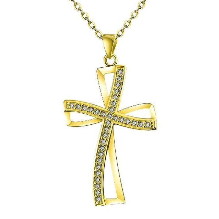 Womens White Zircon Gold Plated Necklace With Cross Shaped Chain Pendant Lady Fashion Party (Intl) | Lazada PH