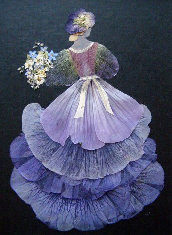 Oshibana de Tatiana Berdnik - fait avec des pétales de fleurs séchés