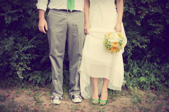 Campground green, gray and yellow wedding
