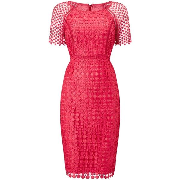 Jacques Vert Lace Spot Dress ($115) ❤ liked on Polyvore featuring dresses, short-sleeve maxi dresses, red lace dresses, plus size mini dresses, plus size midi dresses and plus size summer dresses