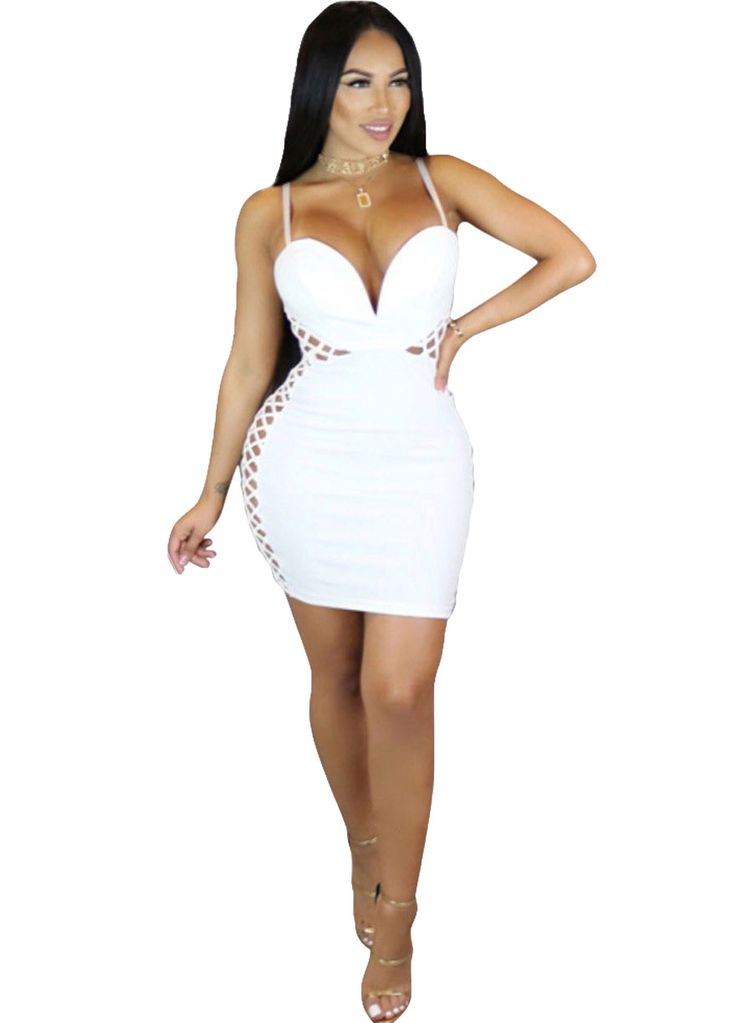 White Hollow Out Sides Padded Dress_Club Dress_Clubwear Clothing_Sexy Lingeire | Cheap Plus Size Lingerie At Wholesale Price | Feelovely.com