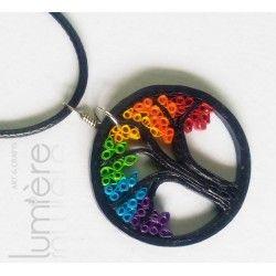 Lumiere Quilling Tree Of Life (Rainbow) Pendant - Unisex Neckpiece