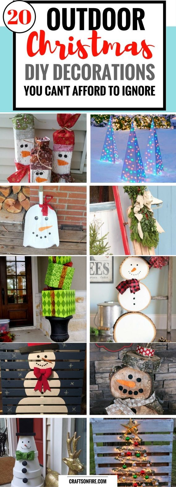 Outdoor Christmas Decor Ideas that will make your home look the BEST! Try making these fantastic and easy decorations that won't break the bank. You're going to LOVE this list of 20 diy projects.