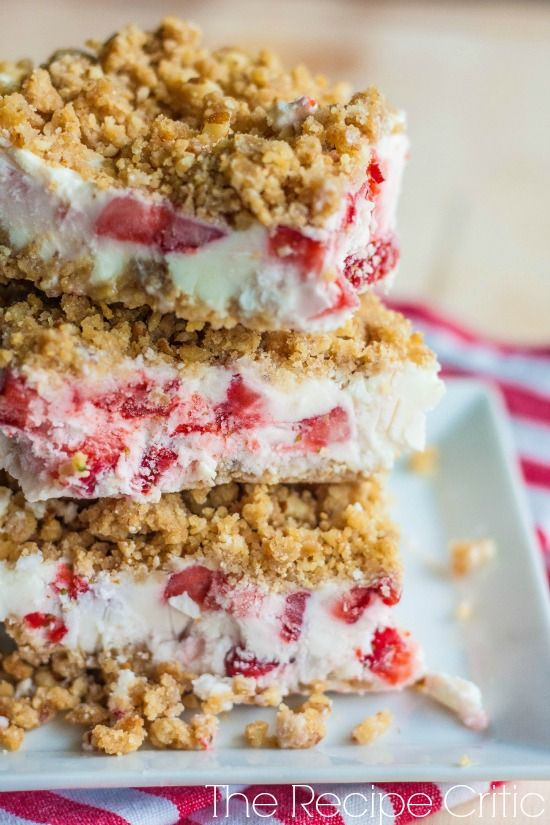 Frozen Strawberries and Cream Dessert Recipe ~ Says: I can't even describe how amazing this recipe turned out.  I loved the crust surrounding the frozen dessert.  It gave it a little crunch and it was delicious!   The middle was creamy and I loved the fresh frozen strawberries inside.