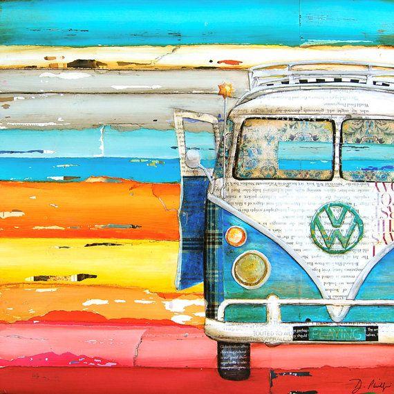 ART PRINT Vw volkswagen van bus retro vintage by dannyphillipsart
